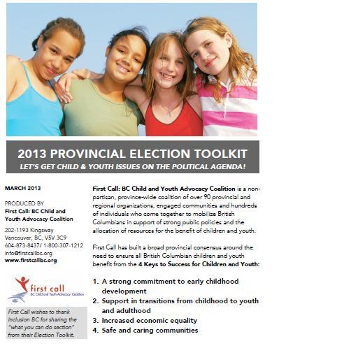 First Call 2013 Provincial Election Toolkit
